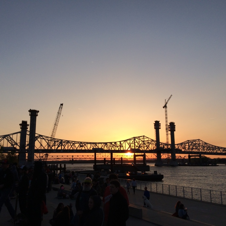 Sunset over WFPK's April 2015 Waterfront Wednesday